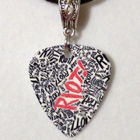 PARAMORE / Hayley Williams - &quot;RIOT&quot; Guitar Pick Necklace with Silver Connector Charm