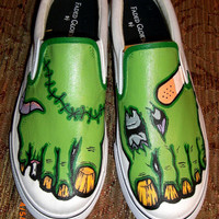 Handpainted Zombie Inspired Shoes by WalkingDeadApparel on Etsy