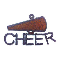 Rustic, Rusty, Recycled Metal Cheer Cheerleader Megaphone Pendant Charm Jewelry Supplies