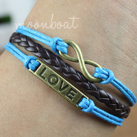 Love bracelet, infinity bracelet, brown  leather bracelet, blue wax cords bracelet