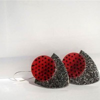 Earrings Red Black Silver Polymer clay handmade by efiwarsh