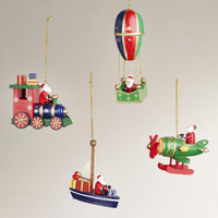 Wood Santa's Transport Ornaments, Set of 4