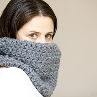 Chunky Crochet Cowl Snood in Slate Grey