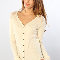 The Carly Rib Knit Henley in Naked