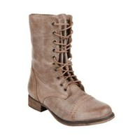 TROOPA NATL LEA women's bootie flat lace up - Steve Madden