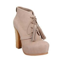 SASHAYY TAUPE NUBUCK women's bootie high lace up - Steve Madden