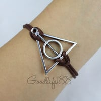 Harry potter bracelet,deathly hallows bracelet,wax cord bracelet