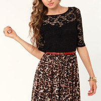 Lure du Jour Lace and Leopard Print Dress