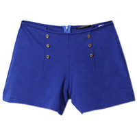 ROMWE | Metallic Double-breasted Embellished Blue Shorts, The Latest Street Fashion