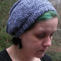 Lavender Crochet Super Slouchy Tam Hat with black accents, ready to ship.