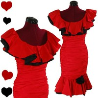 Vintage 80s RED Black RUCHED Prom Party Dress S RUFFLE Glam Flamenco Cocktail | eBay