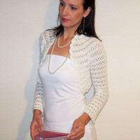 Ivory Wedding Bolero Jacket Bridal Shrug Crochet Lace Angora size Xs S M