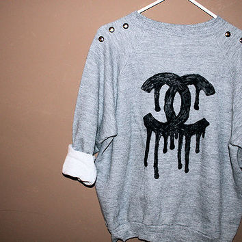 oversize studded CHANEL dripping sweater abstract tumblr hipster grunge cute comfortable oversized one size fits all