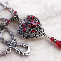 Red Heart Locket Necklace by Aranwen on Etsy