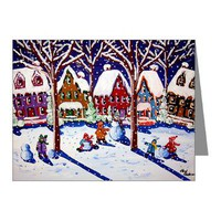 Making Snowmen Note Cards (Pk of 10)> Greeting Cards Post Cards Note Cards> Renie Britenbucher Artwork