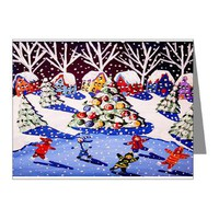 Ice Skate Christmas Note Cards (Pk of 10)> Greeting Cards Post Cards Note Cards> Renie Britenbucher Artwork