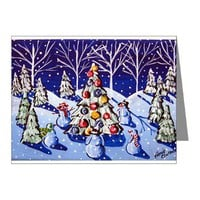 Snowmen Around Christmas Tree Note Cards Pk of 10)> Greeting Cards Post Cards Note Cards> Renie Britenbucher Artwork