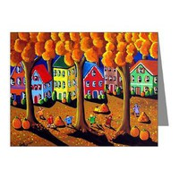 Fall Kids Rake Leaves Folk Note Cards (Pk of 10)> Greeting Cards Post Cards Note Cards> Renie Britenbucher Artwork