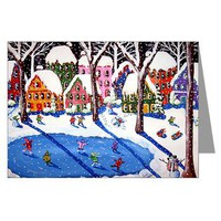 Winter Fun Ice Skate Art Greeting Cards (Pk of 10)> Greeting Cards Post Cards Note Cards> Renie Britenbucher Artwork