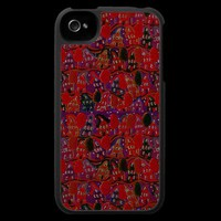 Red Neighborhood Houses Folk Art iPhone Case from Zazzle.com