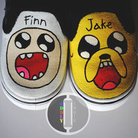 Adventure Time Hand Painted Slip Ons
