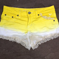Yellow Ombre Shorts with Lace