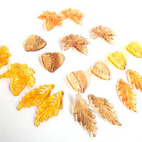 Fall leaves bead mix, brown orange fall acrylic leaves assortment 18 beads