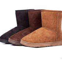 Casual Women's Platform Boots With Solid Color and Round Head Design