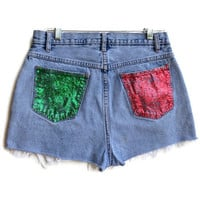 Christmas Glitter Shorts High Waisted Jean Shorts Tumblr Hipster Custom Made Any Size