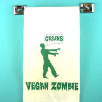 Zombies Tea Towel - Vegan/Vegetarian - Plants vs ZombiesMonster retro kitchen -Screen Print - Indie Housewares