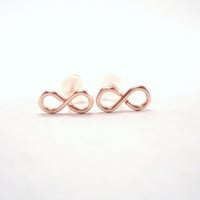 Mini Infinity Earrings, rose gold