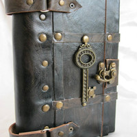 Luxury handmade vintage look blank leather journal notebook with a decorative key emblem - custom order for Miriam - Reserved
