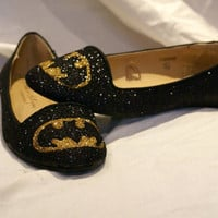Black and Gold Glittered batman pumps