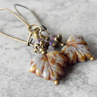 Beaded Earrings Glass Bead Dangles Czech Glass Leaf Jewelry Vintage Style Antiqued Look Rustic Earrings Purple and Bronze Gifts for Her
