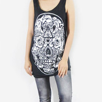 SKULL ROSE Art Design Goth Gothic Zombie Black Shirt Tank Top Skull Shirt Women Tunic Top Singlet Vest Women Sleeveless Skull T-Shirt Size M