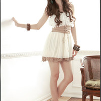 2012 New Korean Chiffon Strapeless Lace Cute Mini Dress White