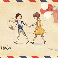 Children's Wall Art Print Paris 8x10 Boy & by sarahjanestudios