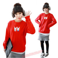 Korean Young Girls Cute Rabbit Round Neck Sweatshirt Pullover Sweater Jumper