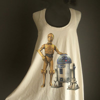Retro C-3PO R2D2 Star wars White Organic Cotton T-Shirt Tee Tank Top Tunic Vest Size M/L
