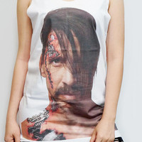 ANTHONY Kiedis Red Hot Chili Peppers Shirt White T-Shirt Tank Top Women Shirt Singlet Sleeveless Tunic Top Vest Women T-Shirt Size M