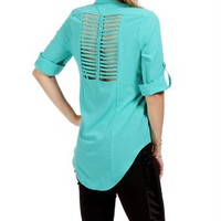 Mint Button Front Caged Top