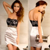 Sexy Womens Mini Dress Strapless Backless Lace Shiny Jewels Cocktail Party 4716