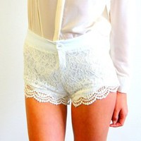 Drop Dead Dollbaby Boutique  LITTLE LACE Shorts (white)