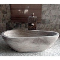 "WS Bath Collections Piedra Pavo 65"" Free Standing Soaking Tub in Natural Stone from the Piedra Collection"