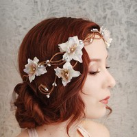Smoke and mirrors  a floral flapper crown by gardensofwhimsy