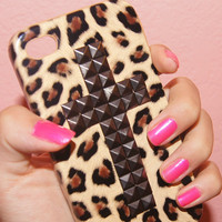 New Cute iPhone 4/4S Cheetah Leopard Print Stud Pretty Vintage Cross