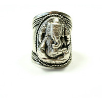 Silver Ganesha Tibetan Ring | VidaKush
