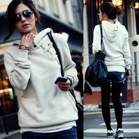 Korean Womens Solid Hoodies Hooded Sweats Outerwear Long Sleeve Buttons Top 4875