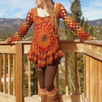 Bohemian crochet pullover/dress-autumn