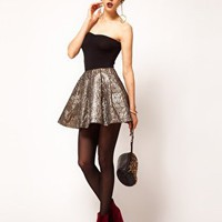 ASOS Gold Skater Skirt in Jacquard at asos.com